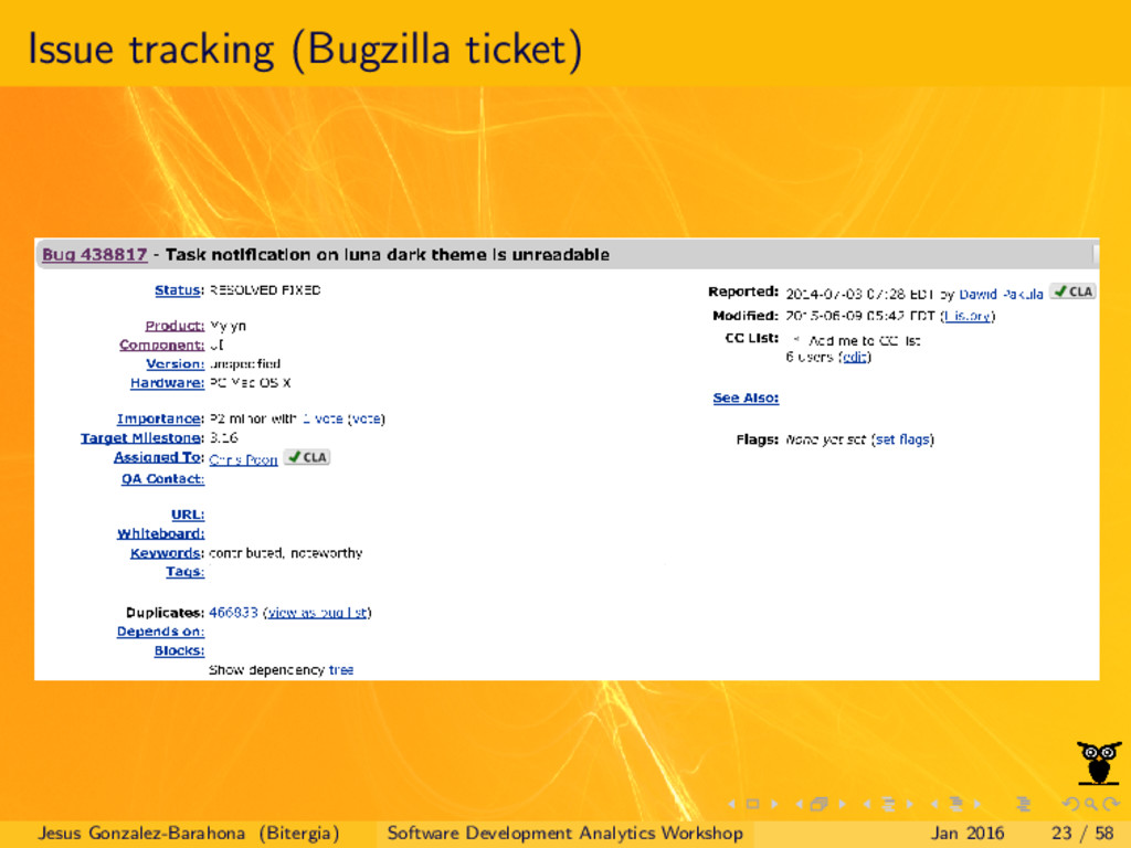 Issue tracking (Bugzilla ticket) Jesus Gonzalez...