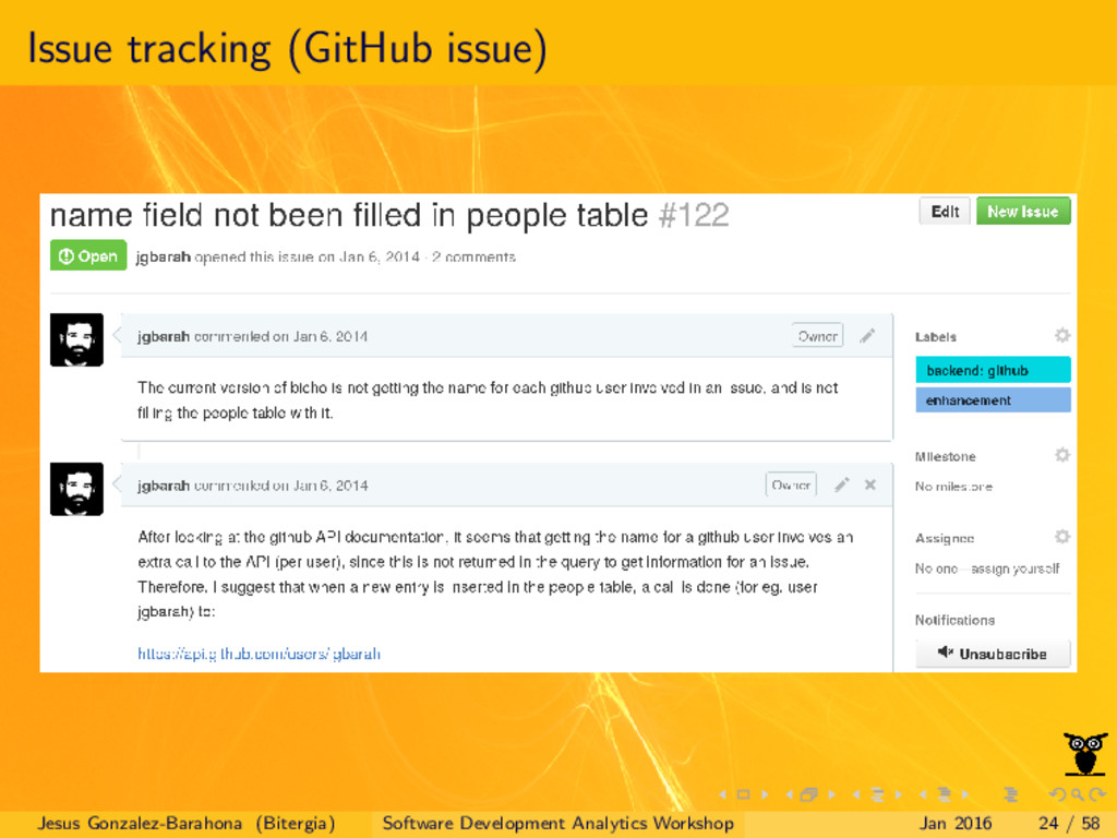 Issue tracking (GitHub issue) Jesus Gonzalez-Ba...