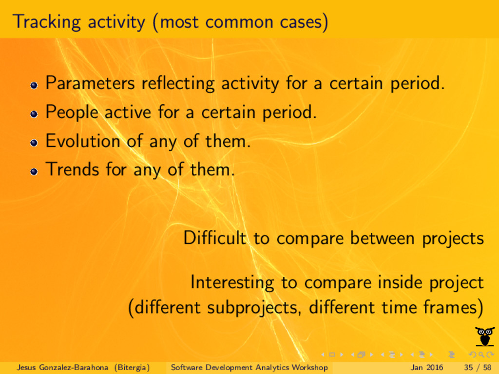 Tracking activity (most common cases) Parameter...