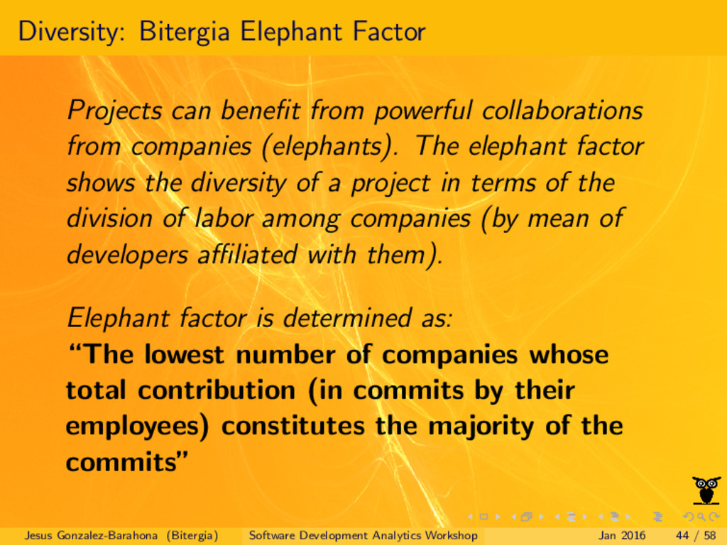 Diversity: Bitergia Elephant Factor Projects ca...