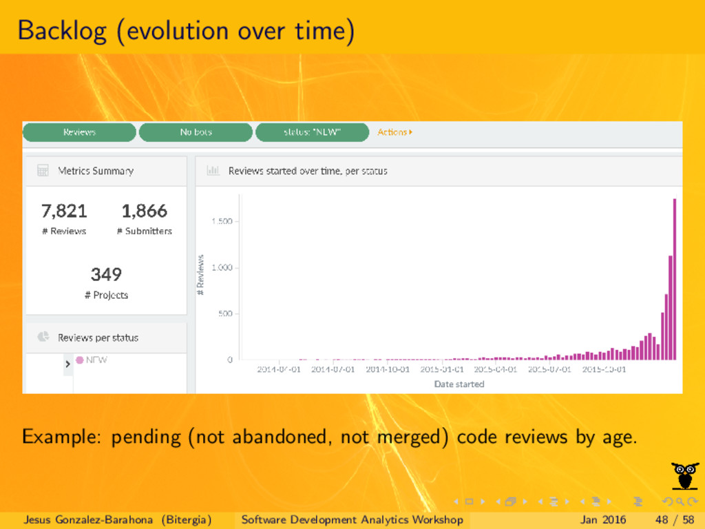 Backlog (evolution over time) Example: pending ...