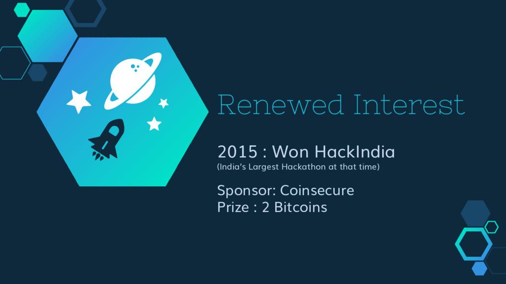 Renewed Interest 2015 : Won HackIndia (India's ...