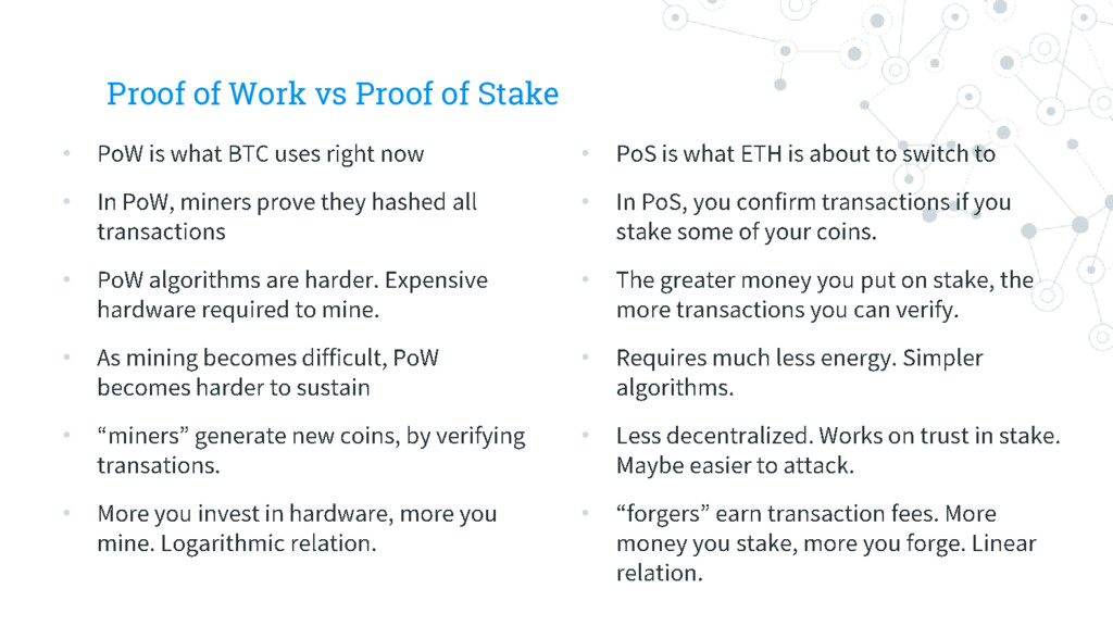 Proof of Work vs Proof of Stake • • • • • • • •...