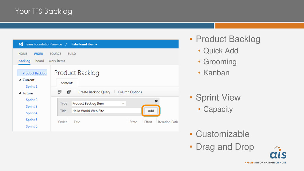 Your TFS Backlog • Product Backlog • Quick Add ...