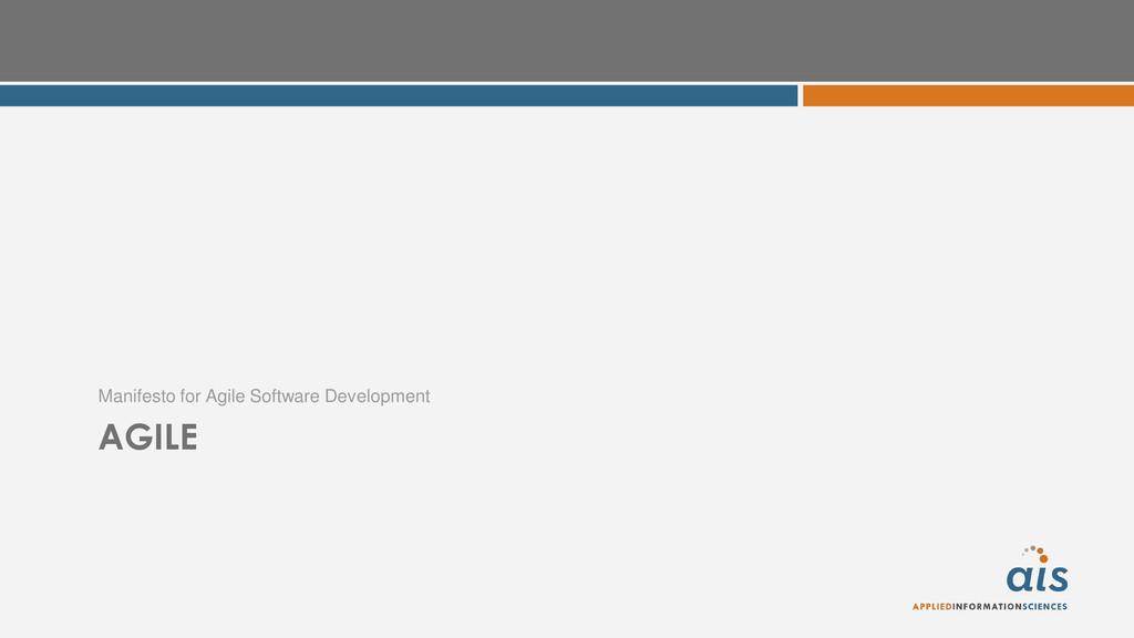 AGILE Manifesto for Agile Software Development