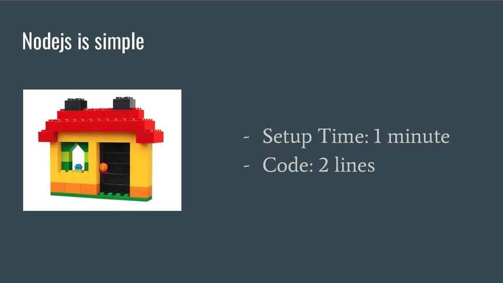 Nodejs is simple - Setup Time: 1 minute - Code:...