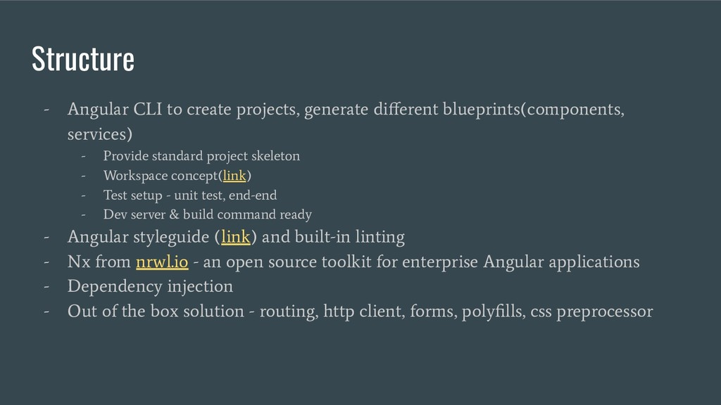 Structure - Angular CLI to create projects, gen...
