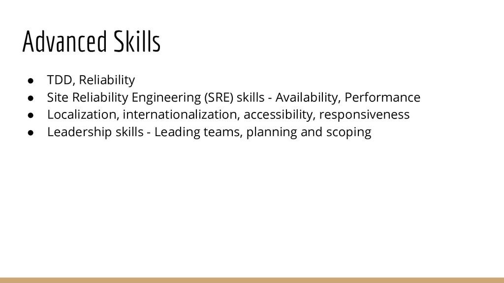 Advanced Skills ● TDD, Reliability ● Site Relia...