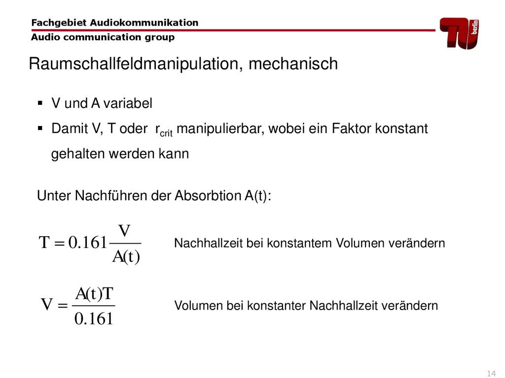 14  V und A variabel  Damit V, T oder rcrit m...