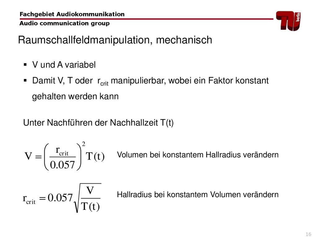 16  V und A variabel  Damit V, T oder rcrit m...