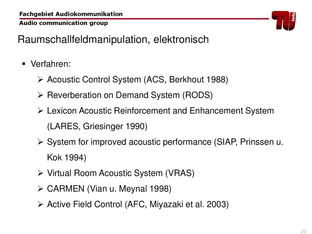 20  Verfahren:  Acoustic Control System (ACS,...
