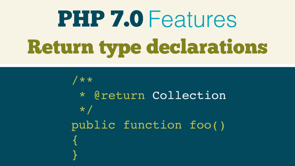 PHP 7.0 Features /**