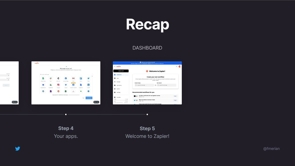 Step 5 Welcome to Zapier! Step 4 Your apps. Rec...