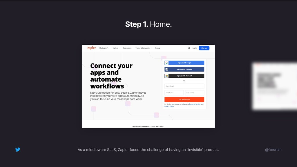 Step 1. Home. @fmerian As a middleware SaaS, Za...