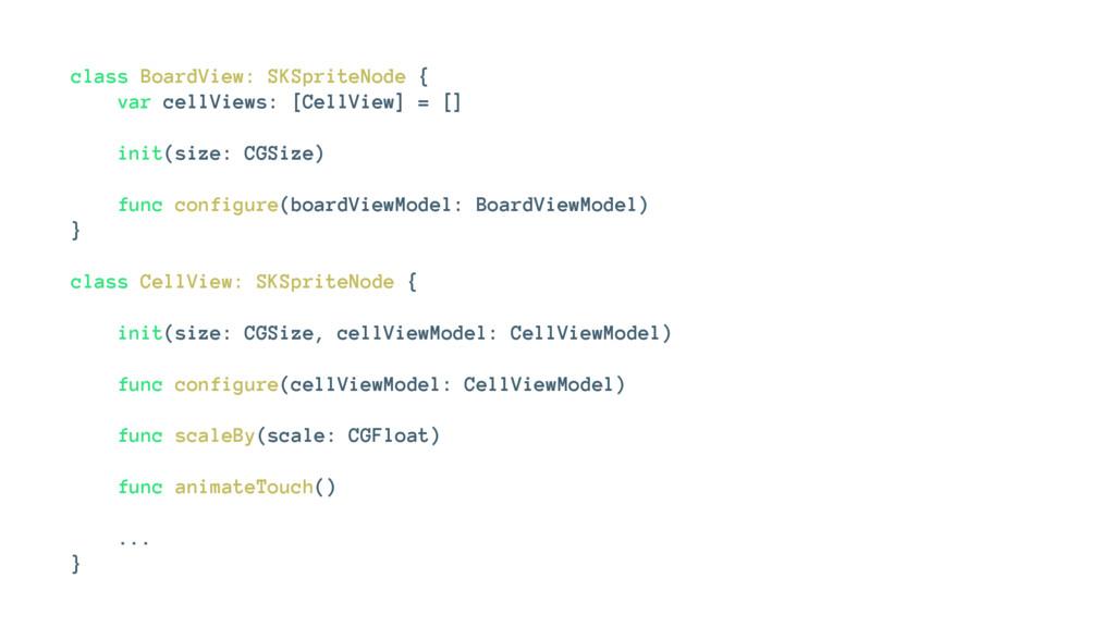 class BoardView: SKSpriteNode { var cellViews: ...