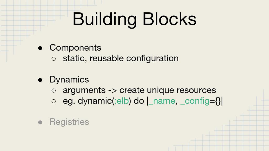 Building Blocks ● Components ○ static, reusable...