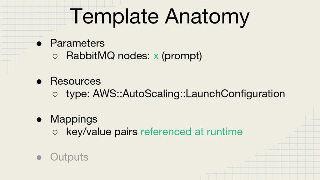 Template Anatomy ● Parameters ○ RabbitMQ nodes:...