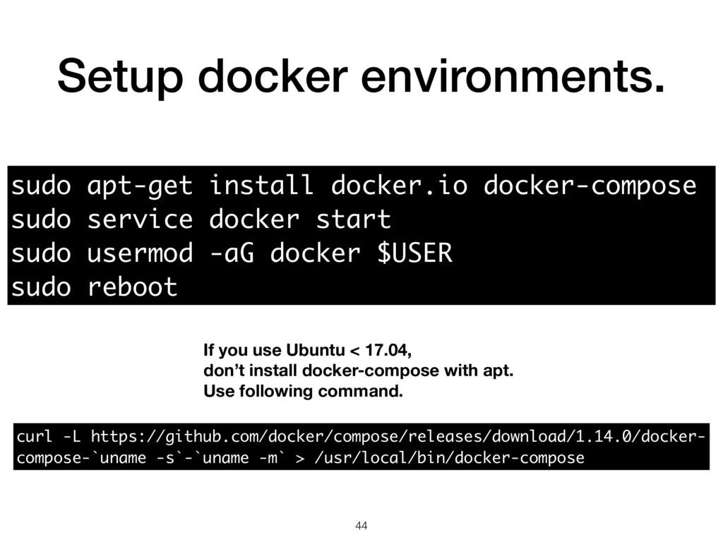 Setup docker environments. 44 sudo apt-get inst...
