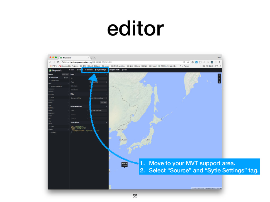 editor 55 1. Move to your MVT support area. 2. ...