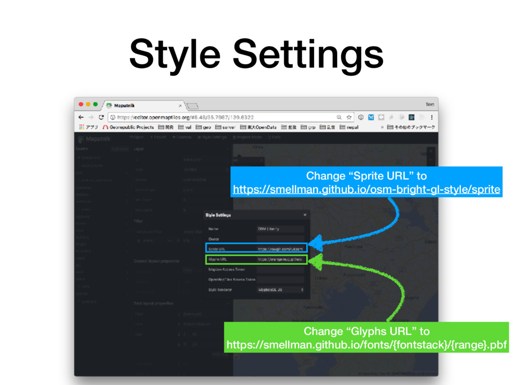 """Style Settings 57 Change """"Sprite URL"""" to https:..."""