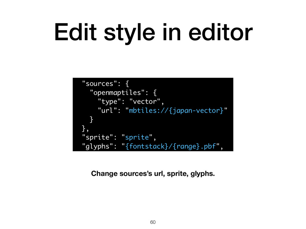"""Edit style in editor 60 """"sources"""": { """"openmapti..."""