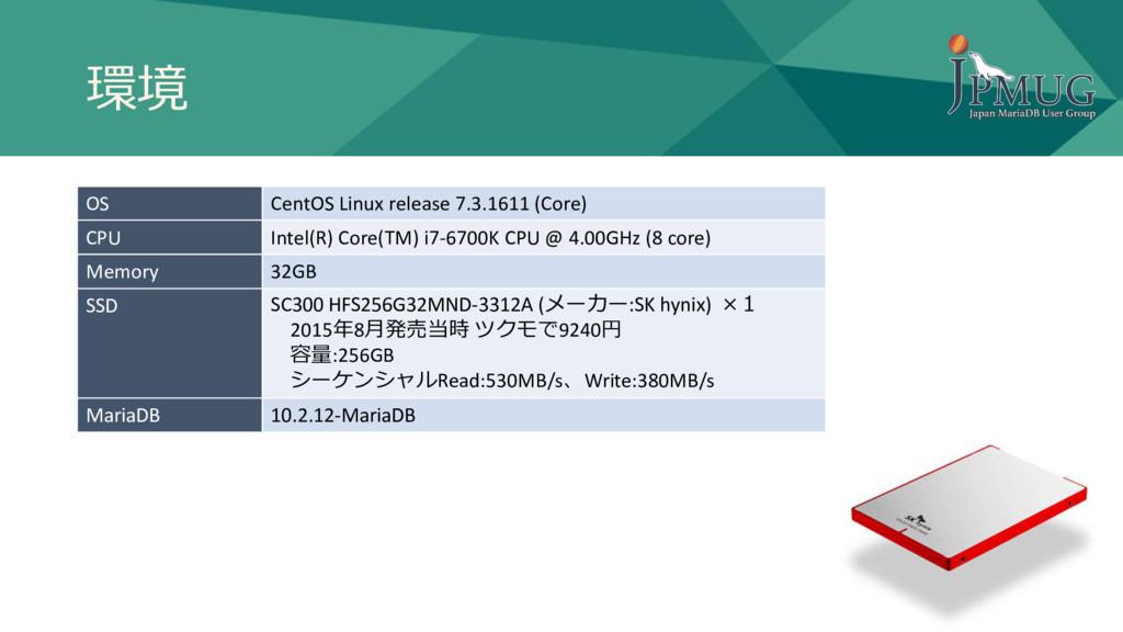 環境 OS CentOS Linux release 7.3.1611 (Core) CPU ...