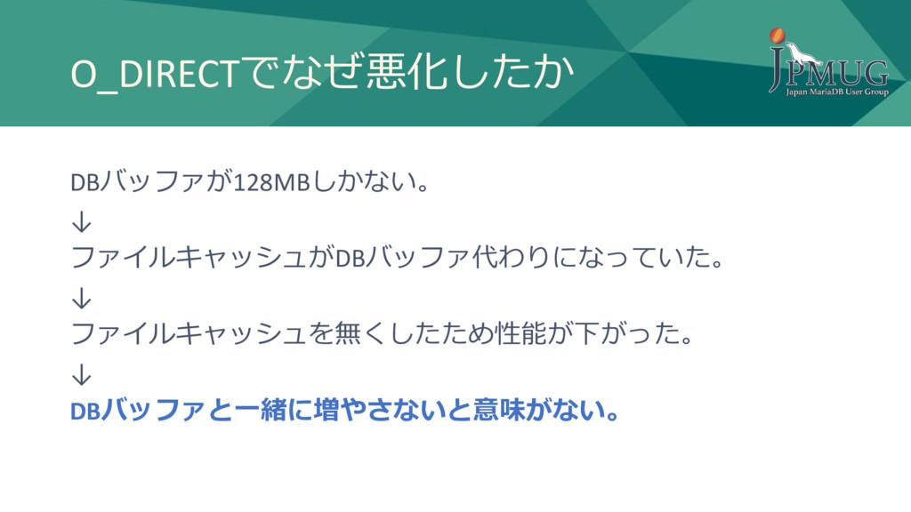 O_DIRECTでなぜ悪化したか DBバッファが128MBしかない。 ↓ ファイルキャッシュが...