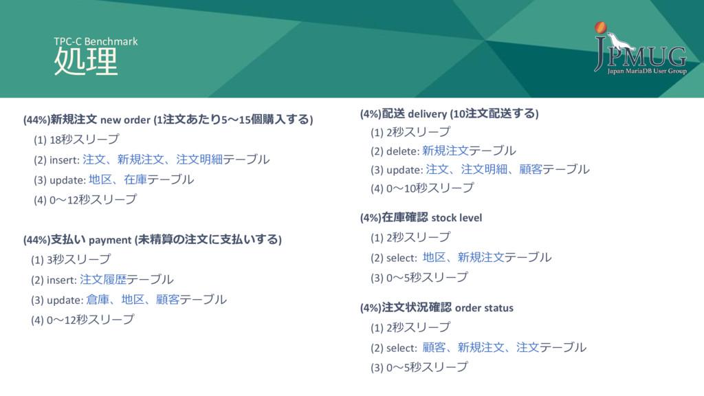 TPC-C Benchmark 処理 (44%)新規注文 new order (1注文あたり5...