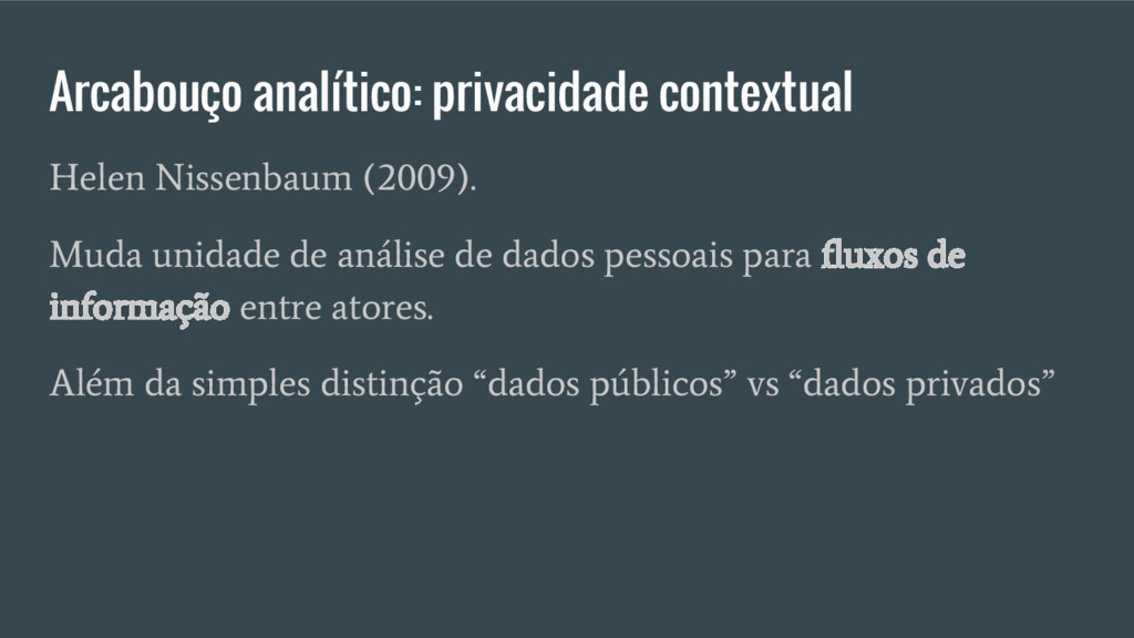 Arcabouço analítico: privacidade contextual Hel...