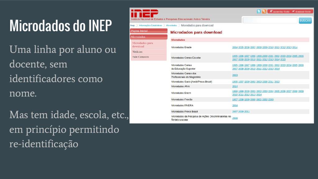 Microdados do INEP Uma linha por aluno ou docen...
