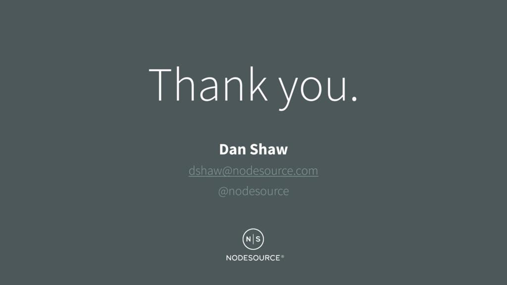 Thank you. Dan Shaw dshaw@nodesource.com @nodes...