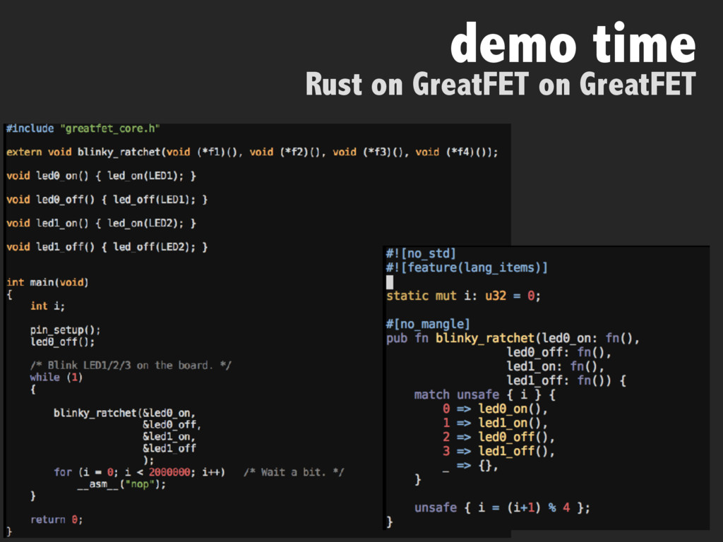 demo time Rust on GreatFET on GreatFET