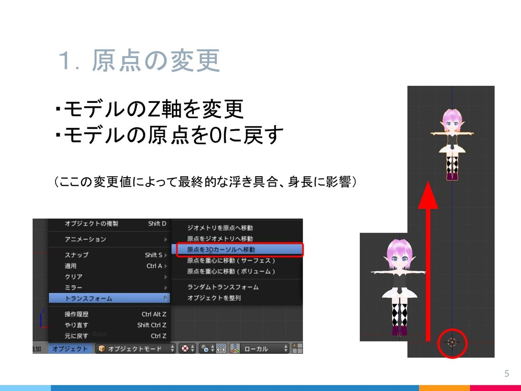 1.原点の変更 5 ・モデルのZ軸を変更 ・モデルの原点を0に戻す (ここの変更値によって最終...