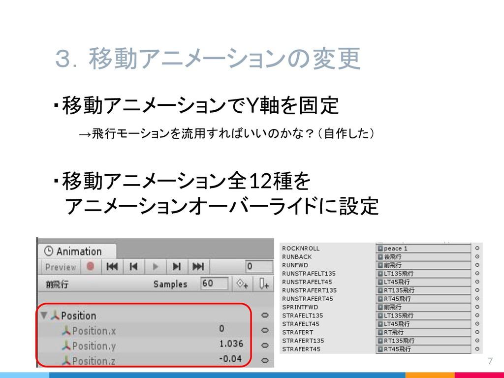 3.移動アニメーションの変更 7 ・移動アニメーションでY軸を固定   →飛行モーションを流用...