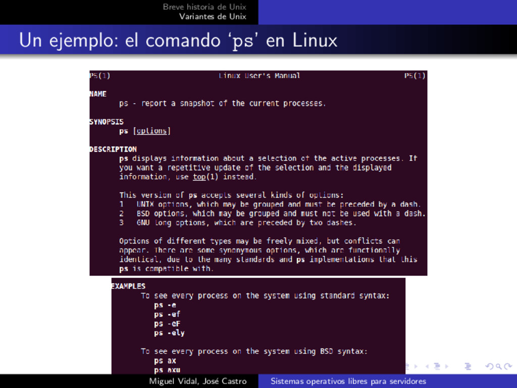 Breve historia de Unix Variantes de Unix Un eje...