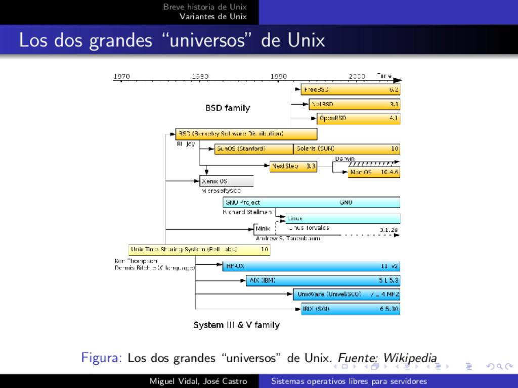 Breve historia de Unix Variantes de Unix Los do...