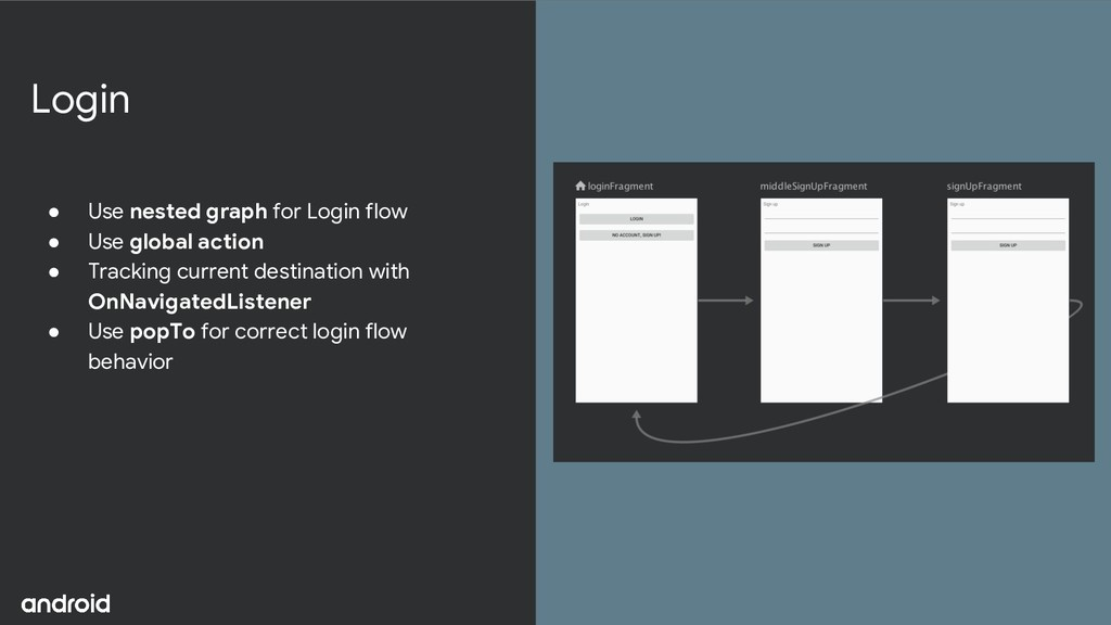 Login ● Use nested graph for Login flow ● Use g...