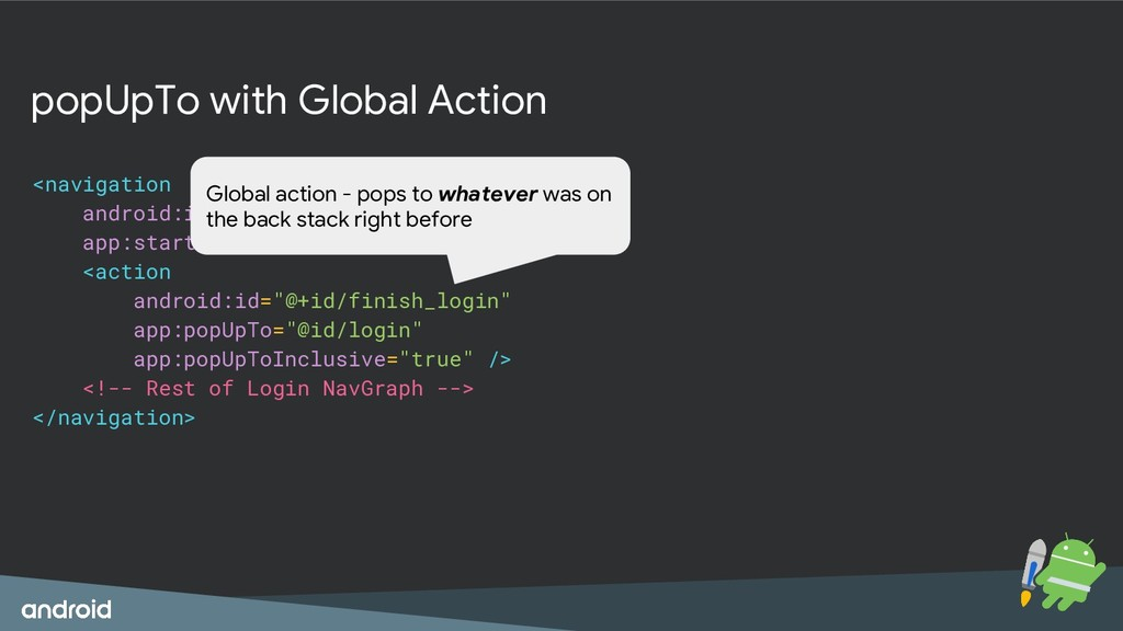 popUpTo with Global Action <navigation android:...