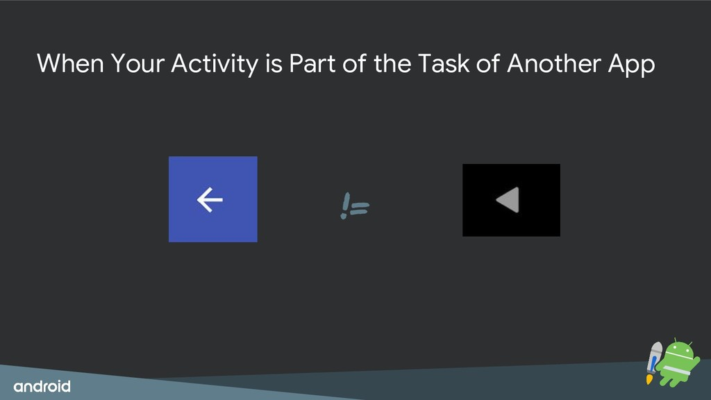 != When Your Activity is Part of the Task of An...
