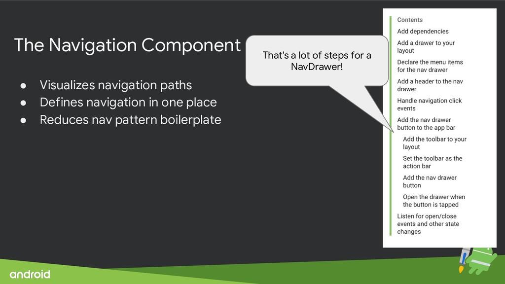 The Navigation Component ● Visualizes navigatio...