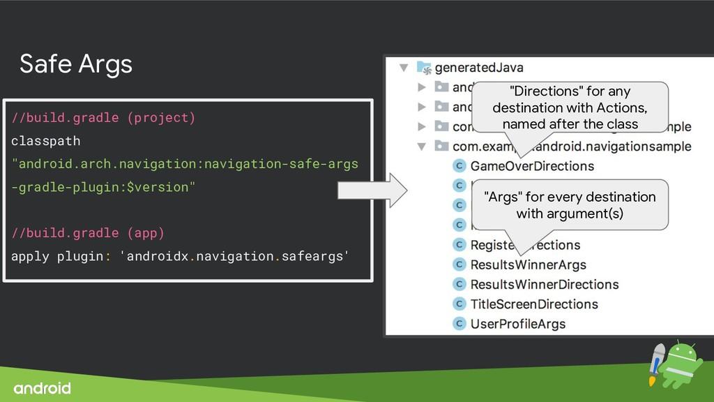 """Safe Args //build.gradle (project) classpath """"a..."""