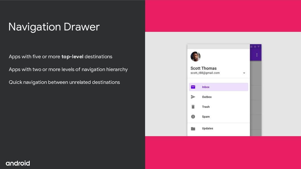 Navigation Drawer Apps with five or more top-le...