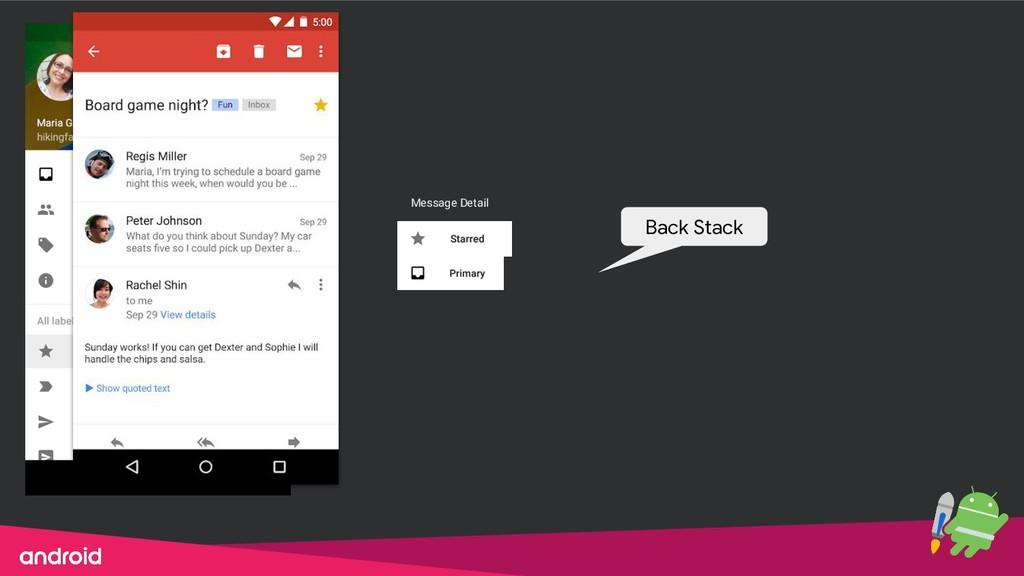 Message Detail Back Stack