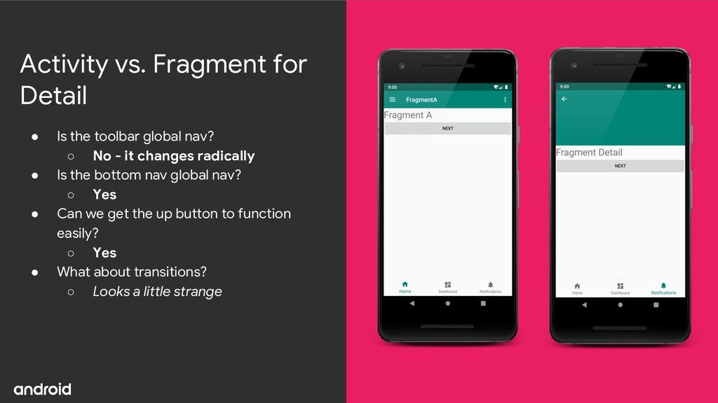Activity vs. Fragment for Detail ● Is the toolb...