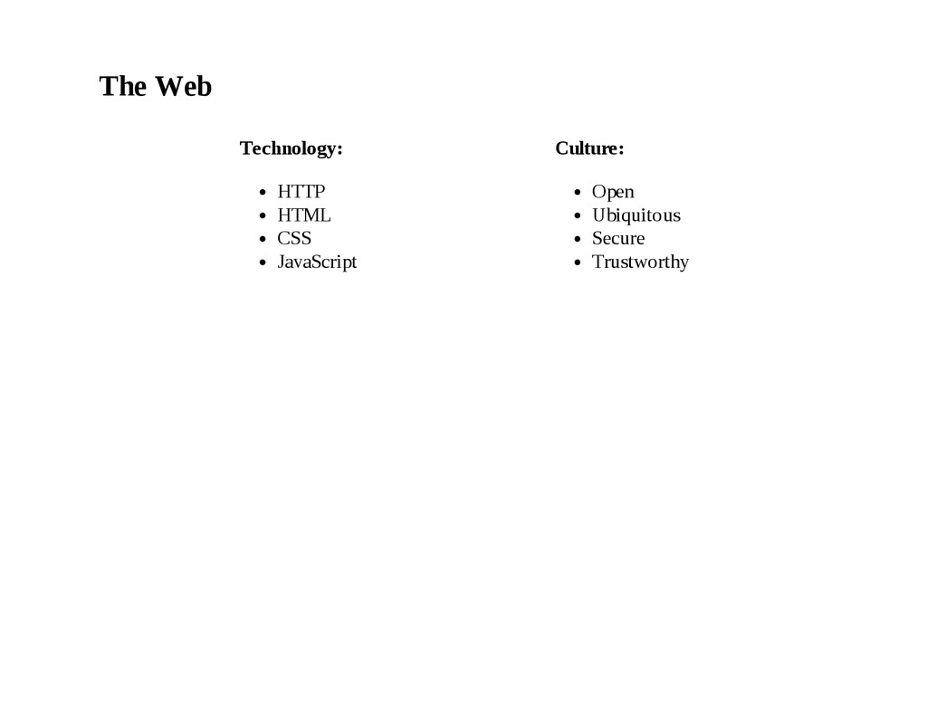 The Web Technology: HTTP HTML CSS JavaScript Cu...