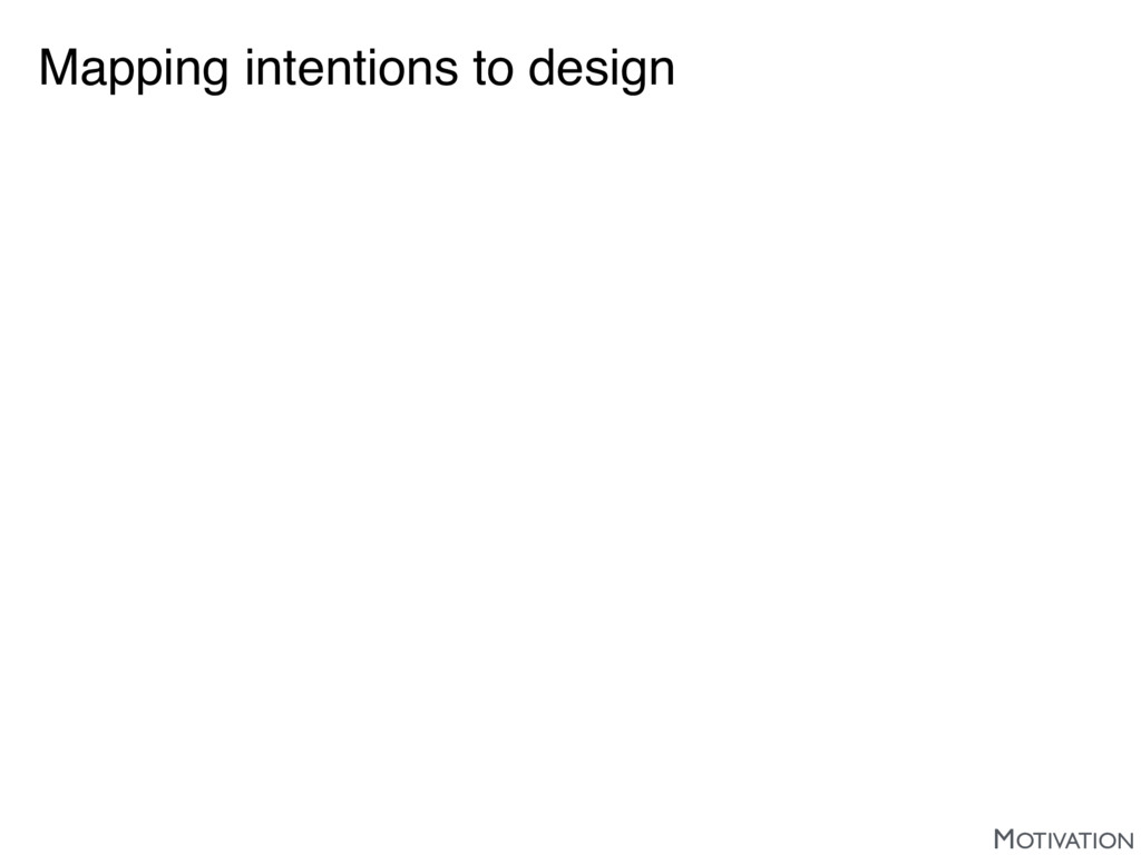 Mapping intentions to design MOTIVATION