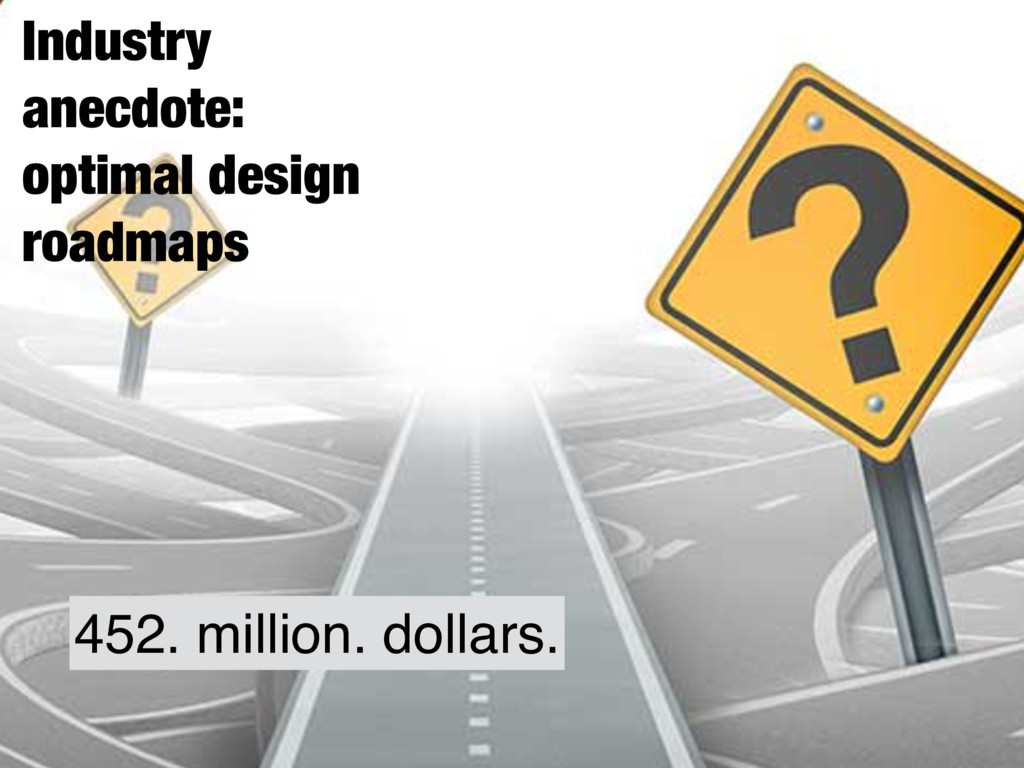 Industry anecdote: optimal design roadmaps 452....