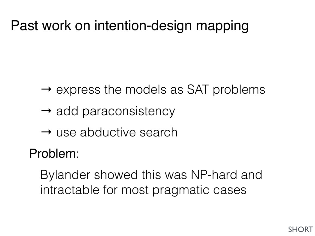 Past work on intention-design mapping → express...