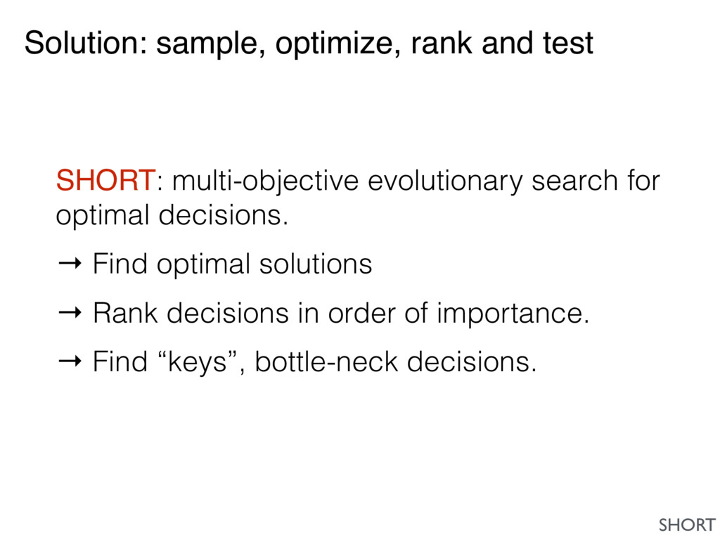 Solution: sample, optimize, rank and test SHORT...