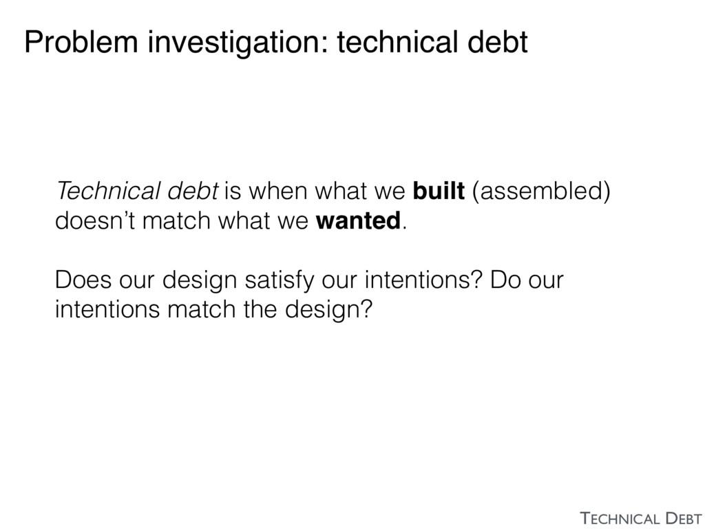 Problem investigation: technical debt Technical...